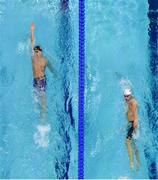 9 August 2018; Maxim Stupin of Russia, left, and Richard Nagy of Slovakia competing in the Men's 400m Individual Meley preliminary heat during day eight of the 2018 European Championships at Tollcross International Swimming Centre in Glasgow, Scotland. Photo by David Fitzgerald/Sportsfile