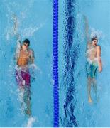 9 August 2018; Christoph Meier of Lichtenstein, left, and Semen Makovich of Russia competing in the Men's 400m Individual Meley preliminary heat during day eight of the 2018 European Championships at Tollcross International Swimming Centre in Glasgow, Scotland. Photo by David Fitzgerald/Sportsfile