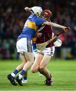 8 August 2018; Jack Grealish of Galway in action against Killian O'Dwyer of Tipperary during the Bord Gais Energy GAA Hurling All-Ireland U21 Championship Semi-Final match between Galway and Tipperary at the Gaelic Grounds in Limerick. Photo by Diarmuid Greene/Sportsfile
