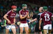8 August 2018; Cian Salmon, centre, and Jack Canning of Galway, left, appeal to referee Sean Cleere during the Bord Gais Energy GAA Hurling All-Ireland U21 Championship Semi-Final match between Galway and Tipperary at the Gaelic Grounds in Limerick. Photo by Diarmuid Greene/Sportsfile