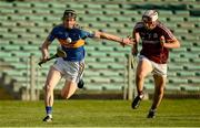 8 August 2018; Jerome Cahill of Tipperary in action against Jack Fitzpatrick of Galway during the Bord Gais Energy GAA Hurling All-Ireland U21 Championship Semi-Final match between Galway and Tipperary at the Gaelic Grounds in Limerick. Photo by Diarmuid Greene/Sportsfile