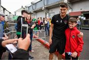 9 August 2018; Graham Cummins of Cork City poses for a picture with a supporter prior to the UEFA Europa League Third Qualifying Round 1st Leg match between Cork City and Rosenborg at Turners Cross in Cork. Photo by Stephen McCarthy/Sportsfile