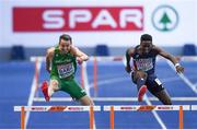 9 August 2018; Thomas Barr of Ireland, left, on his way to winning a bronze medal following the Men's 400m Hurdles Final during Day 3 of the 2018 European Athletics Championships at The Olympic Stadium in Berlin, Germany. Photo by Sam Barnes/Sportsfile