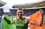9 August 2018; Thomas Barr of Ireland after winning a bronze medal following the Men's 400m Hurdles Final during Day 3 of the 2018 European Athletics Championships at The Olympic Stadium in Berlin, Germany. Photo by Sam Barnes/Sportsfile