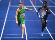 9 August 2018; Thomas Barr of Ireland dips for the line on his way to winning a bronze medal following the Men's 400m Hurdles Final during Day 3 of the 2018 European Athletics Championships at The Olympic Stadium in Berlin, Germany. Photo by Sam Barnes/Sportsfile