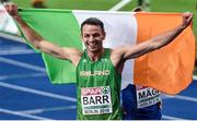 9 August 2018; Thomas Barr of Ireland celebrates after winning a bronze medal following the Men's 400m Hurdles Final during Day 3 of the 2018 European Athletics Championships at The Olympic Stadium in Berlin, Germany. Photo by Sam Barnes/Sportsfile
