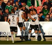 9 August 2018; Jonathan Levi, second from right, celebrates with his Rosenborg team-mates after scoring his side's first goal during the UEFA Europa League Third Qualifying Round 1st Leg match between Cork City and Rosenborg at Turners Cross in Cork. Photo by Stephen McCarthy/Sportsfile