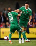 9 August 2018; Karl Sheppard, left, and Graham Cummins of Cork City during the UEFA Europa League Third Qualifying Round 1st Leg match between Cork City and Rosenborg at Turners Cross in Cork. Photo by Stephen McCarthy/Sportsfile