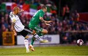 9 August 2018; Karl Sheppard of Cork City is tackled by Tore Reginiussen of Rosenborg during the UEFA Europa League Third Qualifying Round 1st Leg match between Cork City and Rosenborg at Turners Cross in Cork. Photo by Stephen McCarthy/Sportsfile