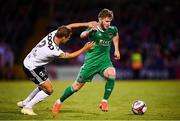 9 August 2018; Kieran Sadlier of Cork City in action against Vegar Hedenstad of Rosenborg during the UEFA Europa League Third Qualifying Round 1st Leg match between Cork City and Rosenborg at Turners Cross in Cork. Photo by Stephen McCarthy/Sportsfile