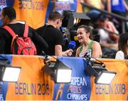 10 August 2018; Phil Healy of Ireland is interviewed by David Gillick of RTE after competing in the Women's 200m event heats during Day 4 of the 2018 European Athletics Championships at The Olympic Stadium in Berlin, Germany. Photo by Sam Barnes/Sportsfile
