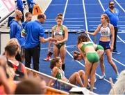 10 August 2018;  Athletes, from left, Sophie Becker, Sinead Denny, Claire Mooney and Davicia Patterson, of Ireland after the Women's 4x400m relay event during Day 4 of the 2018 European Athletics Championships at The Olympic Stadium in Berlin, Germany. Photo by Sam Barnes/Sportsfile