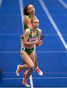 10 August 2018;  Davicia Patterson of Ireland, behind, passes the baton to Claire Mooney whilst competing in the Women's 4x400m relay event during Day 4 of the 2018 European Athletics Championships at The Olympic Stadium in Berlin, Germany. Photo by Sam Barnes/Sportsfile