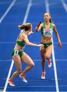 10 August 2018;  Davicia Patterson of Ireland, right, passes the baton to Claire Mooney whilst competing in the Women's 4x400m relay event during Day 4 of the 2018 European Athletics Championships at The Olympic Stadium in Berlin, Germany. Photo by Sam Barnes/Sportsfile