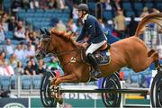 9 August 2018; Shane Breen of Ireland competing on Golden Hawk during the Stablelab Stakes during the StenaLine Dublin Horse Show at the RDS Arena in Dublin. Photo by Matt Browne/Sportsfile