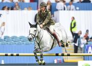 9 August 2018; Captain Geoff Curran of Ireland competing on Hallowberry Cruz during the Stablelab Stakes during the StenaLine Dublin Horse Show at the RDS Arena in Dublin. Photo by Matt Browne/Sportsfile