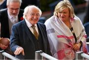 10 August 2018; President Michael D Higgins makes his way to the President's Box prior to the Longines FEI Jumping Nations Cup of Ireland during the StenaLine Dublin Horse Show at the RDS Arena in Dublin. Photo by Harry Murphy/Sportsfile