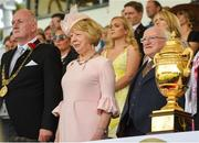 10 August 2018; In attendance, from left, Lord Mayor Nial Ring, President Michael D Higgins and his wife Sabina Higgins stand with the Aga Khan trophy during the national anthem prior to the the Longines FEI Jumping Nations Cup of Ireland during the StenaLine Dublin Horse Show at the RDS Arena in Dublin. Photo by Matt Browne/Sportsfile