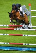 10 August 2018; Amanda Derbyshire competing on Roulette BH during the Longines FEI Jumping Nations Cup of Ireland during the StenaLine Dublin Horse Show at the RDS Arena in Dublin. Photo by Harry Murphy/Sportsfile