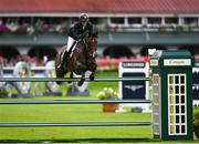 10 August 2018; Paul O'Shea of Ireland competing on Skara Glen's Machu Picchu during the Longines FEI Jumping Nations Cup of Ireland during the StenaLine Dublin Horse Show at the RDS Arena in Dublin. Photo by Harry Murphy/Sportsfile