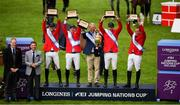 10 August 2018; The Mexico team, from left, Eugenio Garza Perez, Enrique Gonzalez, Chef d'Equipe Stanny van Paesschen, Patricio Pasquel and Federico Fernandez celebrate winning The Aga Khan Cup following the Longines FEI Jumping Nations Cup of Ireland during the StenaLine Dublin Horse Show at the RDS Arena in Dublin. Photo by Harry Murphy/Sportsfile