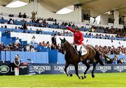 10 August 2018; Enrique Gonzalez of Mexico competing on Chacna jumps the last during the Longines FEI Jumping Nations Cup of Ireland during the StenaLine Dublin Horse Show at the RDS Arena in Dublin. Photo by Matt Browne/Sportsfile