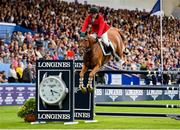 10 August 2018; Patricio Pasquel of Mexico competing on Babel jumps the last to complete a clear round during the Longines FEI Jumping Nations Cup of Ireland during the StenaLine Dublin Horse Show at the RDS Arena in Dublin. Photo by Matt Browne/Sportsfile