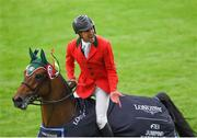 10 August 2018; Eugenio Garza Perez of Mexico competing on Victer Finn DH Z celebrates after the Longines FEI Jumping Nations Cup of Ireland during the StenaLine Dublin Horse Show at the RDS Arena in Dublin. Photo by Harry Murphy/Sportsfile
