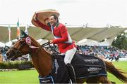 10 August 2018; Patricio Pasquel from Mexico competing on Babel celebrates after the Nations Cup during the StenaLine Dublin Horse Show at the RDS Arena in Dublin. Photo by Matt Browne/Sportsfile