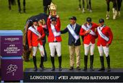 10 August 2018; The Mexico team, from left, Eugenio Garza Perez, Enrique Gonzalez, Chef d'Equipe Stanny van Paesschen, Patricio Pasquel and Federico Fernandez celebrate with the Aga Khan Cup following the Longines FEI Jumping Nations Cup of Ireland during the StenaLine Dublin Horse Show at the RDS Arena in Dublin. Photo by Harry Murphy/Sportsfile