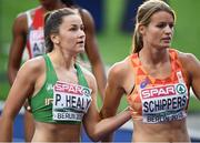 10 August 2018; Phil Healy of Ireland, left, and Dafne Schippers of Netherlands after competing in the Women's 200m Semi-Final during Day 4 of the 2018 European Athletics Championships at The Olympic Stadium in Berlin, Germany. Photo by Sam Barnes/Sportsfile
