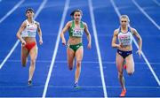 10 August 2018; Phil Healy, centre, of Ireland, Anna Kielbasinska, left, of Poland and Beth Dobbin of Great Britain competing in the Women's 200m Semi-Final during Day 4 of the 2018 European Athletics Championships at The Olympic Stadium in Berlin, Germany. Photo by Sam Barnes/Sportsfile