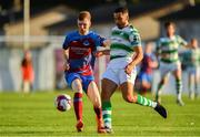 10 August 2018; Mark Doyle of Drogheda United in action agaisnt Roberto Lopes of Shamrock Rovers during the Irish Daily Mail FAI Cup First Round match between Drogheda United v Shamrock Rovers at United Park, in Drogheda. Photo by Seb Daly/Sportsfile