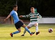 10 August 2018; Evan Osam of UCD in action against Darragh Rainsford of Pike Rovers during the Irish Daily Mail FAI Cup First Round match between UCD and Pike Rovers at The UCD Bowl, in Dublin. Photo by Eoin Smith/Sportsfile
