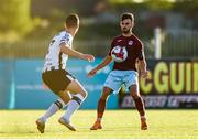 10 August 2018; Kevin Taylor of Cobh Ramblers in action against Michael Duffy of Dundalk during the Irish Daily Mail FAI Cup First Round match between Dundalk and Cobh Ramblers at Oriel Park, in Dundalk. Photo by Ben McShane/Sportsfile