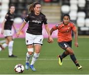 10 August 2018; Kylie Murphy of Wexford Youths in action against Stephany Mayor of Thór/KA during the UEFA Women's Champions League Qualifier match between Wexford Youths and Thór/KA at Seaview in Belfast. Photo by Oliver McVeigh/Sportsfile