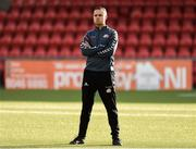 10 August 2018; Thór/KA coach Jon Sigurdsson before the UEFA Women's Champions League Qualifier match between Wexford Youths and Thór/KA at Seaview in Belfast. Photo by Oliver McVeigh/Sportsfile