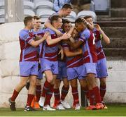 10 August 2018; Chris Lyons of Drogheda United, centre, celebrates with team-mates after scoring his side's first goal during the Irish Daily Mail FAI Cup First Round match between Drogheda United v Shamrock Rovers at United Park, in Drogheda. Photo by Seb Daly/Sportsfile