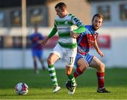 10 August 2018; Sean Kavanagh of Shamrock Rovers in action agaisnt Colm Deasy of Drogheda United during the Irish Daily Mail FAI Cup First Round match between Drogheda United v Shamrock Rovers at United Park, in Drogheda. Photo by Seb Daly/Sportsfile