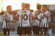 10 August 2018; Jamie McGrath of Dundalk, centre, celebrates after scoring his side's second goal with team-mates, from left, Ronan Murray, Georgie Kelly, Sean Gannon and Michael Duffy during the Irish Daily Mail FAI Cup First Round match between Dundalk and Cobh Ramblers at Oriel Park, in Dundalk. Photo by Ben McShane/Sportsfile
