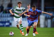 10 August 2018; Ronan Finn of Shamrock Rovers in action against Richie Purdy of Drogheda United during the Irish Daily Mail FAI Cup First Round match between Drogheda United v Shamrock Rovers at United Park, in Drogheda. Photo by Seb Daly/Sportsfile