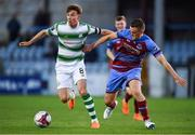 10 August 2018; Ronan Finn of Shamrock Rovers in action agaisnt Richie Purdy of Drogheda United during the Irish Daily Mail FAI Cup First Round match between Drogheda United v Shamrock Rovers at United Park, in Drogheda. Photo by Seb Daly/Sportsfile