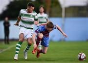 10 August 2018; Aaron Greene of Shamrock Rovers in action agaisnt Conor Kane of Drogheda United during the Irish Daily Mail FAI Cup First Round match between Drogheda United v Shamrock Rovers at United Park, in Drogheda. Photo by Seb Daly/Sportsfile
