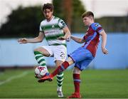 10 August 2018; Sam Bone of Shamrock Rovers in action agaisnt Conor Kane of Drogheda United during the Irish Daily Mail FAI Cup First Round match between Drogheda United v Shamrock Rovers at United Park, in Drogheda. Photo by Seb Daly/Sportsfile