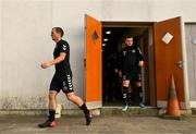 10 August 2018; Derek Pender, left, and Darragh Leahy of Bohemians head to the pitch for the warm up prior to the Irish Daily Mail FAI Cup First Round match between Wexford and Bohemians at Ferrycarrig Park, in Wexford. Photo by Tom Beary/Sportsfile