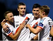 10 August 2018; Dinny Corcoran of Bohemians, third from left, celebrates after scoring his side's fifth goal with teammates, from left, Keith Ward, Daniel Kelly, Jonathan Lunney during the Irish Daily Mail FAI Cup First Round match between Wexford and Bohemians at Ferrycarrig Park, in Wexford. Photo by Tom Beary/Sportsfile