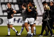 10 August 2018; Edel Kennedy, Rebekah Cassin and Rianna Jarrett of Wexford Youths dejected after the UEFA Women's Champions League Qualifier match between Wexford Youths and Thór/KA at Seaview in Belfast. Photo by Oliver McVeigh/Sportsfile