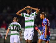 10 August 2018; Sinclair Armstrong  of Shamrock Rovers reacts during the Irish Daily Mail FAI Cup First Round match between Drogheda United v Shamrock Rovers at United Park, in Drogheda. Photo by Seb Daly/Sportsfile