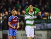10 August 2018; Gary Shaw of Shamrock Rovers reacts at the final whistle following his side's defeat during the Irish Daily Mail FAI Cup First Round match between Drogheda United v Shamrock Rovers at United Park, in Drogheda. Photo by Seb Daly/Sportsfile