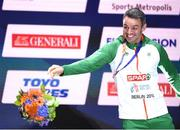 10 August 2018; Thomas Barr of Ireland with his bronze medal after finishing third in the Men's 400m hurdles Final during Day 4 of the 2018 European Athletics Championships in Berlin, Germany. Photo by Sam Barnes/Sportsfile